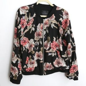 Sanctuary Black Floral Tailored Bomber Jacket